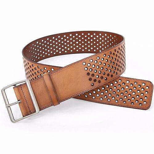ZHANGYONG Cinturilla Personalidad Elegante Capa De Cabeza De Vaca Mujer Cintura Cinturón Hueco Sellado