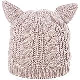 SIGGI warme gestrickte Beanie Mütze Katze Ohr Mütze Strickmütze Für Mädchen Wintermütze