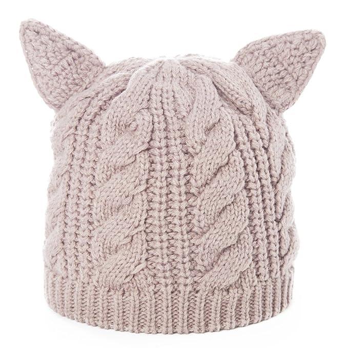 e8b73d6fe9e SIGGI Cat Ears Beanie Hats for Womens Wool Knit Beanies Beige Pussy Cat  Hats Winter Slouch
