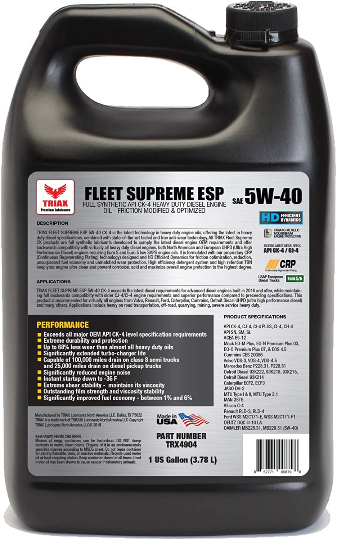 Triax Fleet Supreme ESP 5W-40 Ultimate Full sintético – Fricción modificada – API CK-4 Heavy Duty aceite de motor diésel con Moly, rendimiento ...