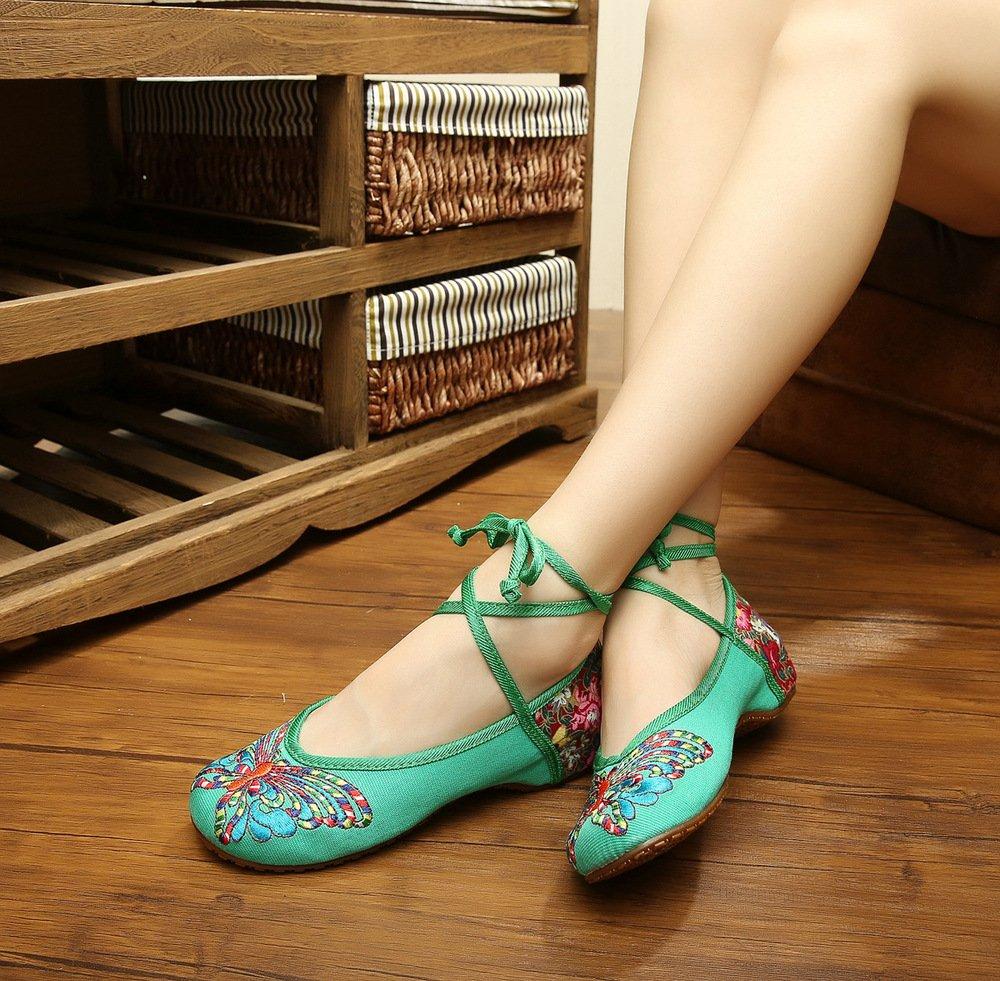 Wunes(TM) ブランドファッション古い北京の蝶刺繍女性の靴中国風フラッツジェーンズカジュアルサイズ34-41柔らかいソールダンスシューズ[10緑] B078L322VG 緑 10