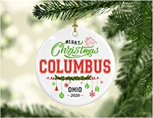 Christmas Decorations Tree Ornament - Gifts Hometown State - Merry Christmas Columbus Ohio 2020 - Gift for Family Rustic 1St Xmas Tree in Our New Home 3 Inches White