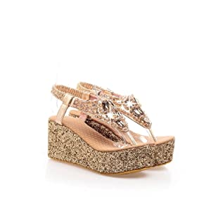 Velardeeee Glittering Beaded Bohemia Women Beach Sandals Rhinestone Flip Flops LadyDiamand Platform Wedge Shoes Gold14 B(M)US