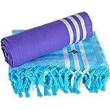 Sathiyas Cotton Bath Towel Pack of 2 (Blue || Lavendor)
