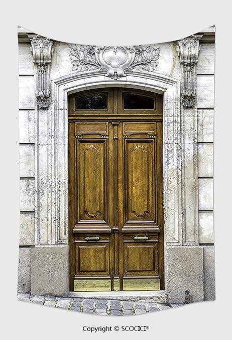 Home Decor arazzo da parete vecchio legno arco entrata porta Paris ...