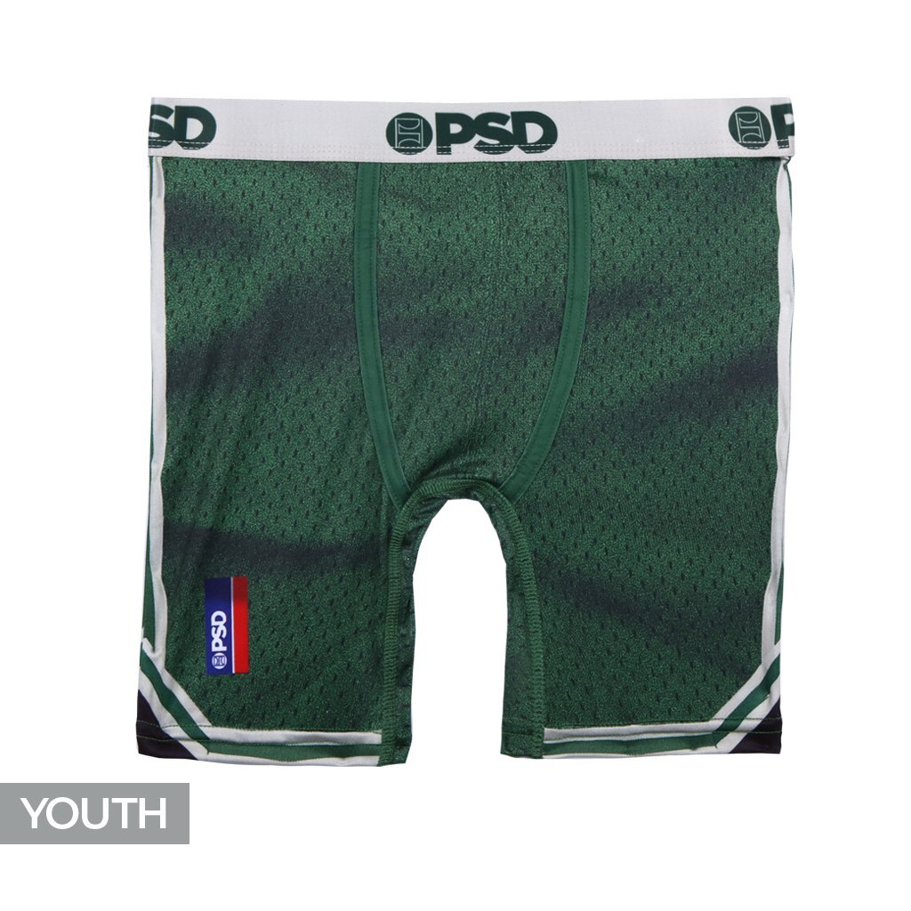 PSD Underwear Youth The Throwback Athletic Boxer Brief, Green Y11821020-P