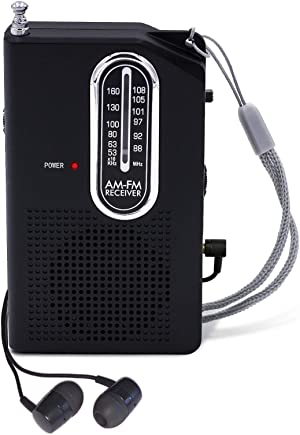 AM FM Portable Pocket Radio, Battery Operated Compact Transistor Radios with Great Reception, Built-in Speaker, Come with Headphone (Black)