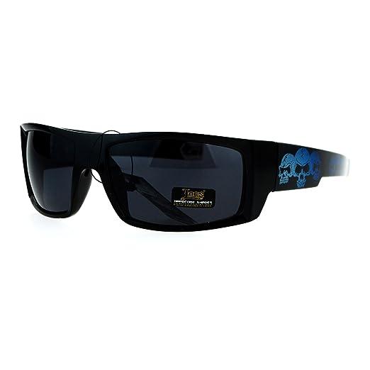 9727aedba00 Locs Skull Print Rectangular Gangster Cholo Sport All Black Sunglasses Blue