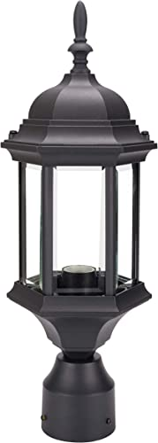 LIT-PaTH Outdoor Post Lighting Pole Lantern Fixture with One E26 Base Max 100W, Aluminum Housing Plus Glass Black Finish