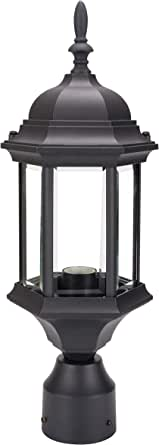 LIT-PaTH Outdoor Post Lighting Pole Lantern Fixture with One E26 Base Max 100W, Aluminum Housing Plus Glass (Black Finish)