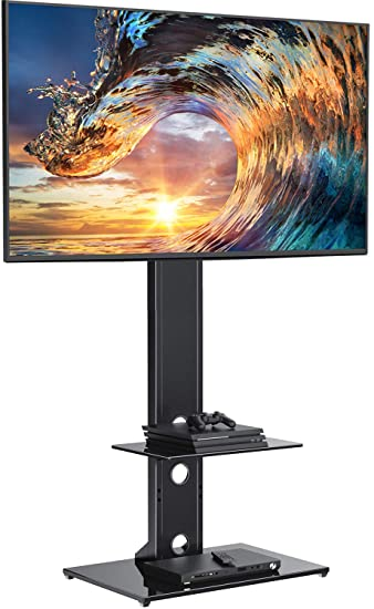 PERLESMITH Swivel Floor TV Stand/Base with Shelves for Most 32-65 inch LCD  LED TVs - Universal TV Mount Stand Perfect for Corner & Bedroom, Height ...