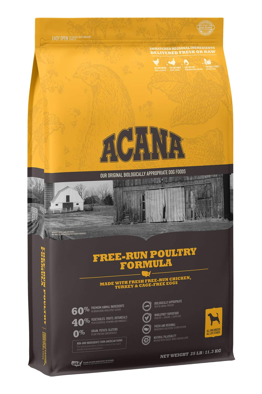 ACANA Heritage Dry Dog Food, Free-Run Poultry, Biologically Appropriate & Grain Free