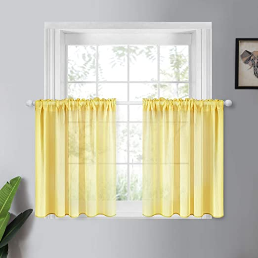 Modern Sunny Yellow 3 Piece Kitchen Curtains Set Valance /& Tiers Cafe Curtains