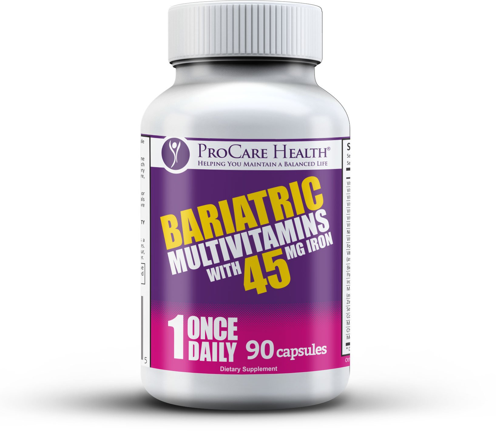 Bariatric Once-A-Day Multivitamin 90 Ct Capsule-45mg Iron Made for Gastric Bypass Sleeve WLS Surgery by ProCare Health