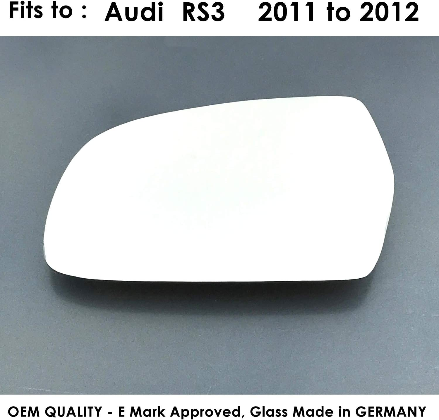 RS3 LEFT SIDE Wing Mirror Glass Silver Convex 2011 to 2012