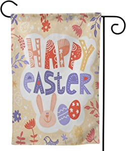 Happy Easter Eggs Bunny Christian Spring Flowers House Flags 28 X 40 Double Sided Large Outdoor Holiday Garden Flag Banner Cute Big for Yard Outside Home Hanging Decor Spring Fall Decorations