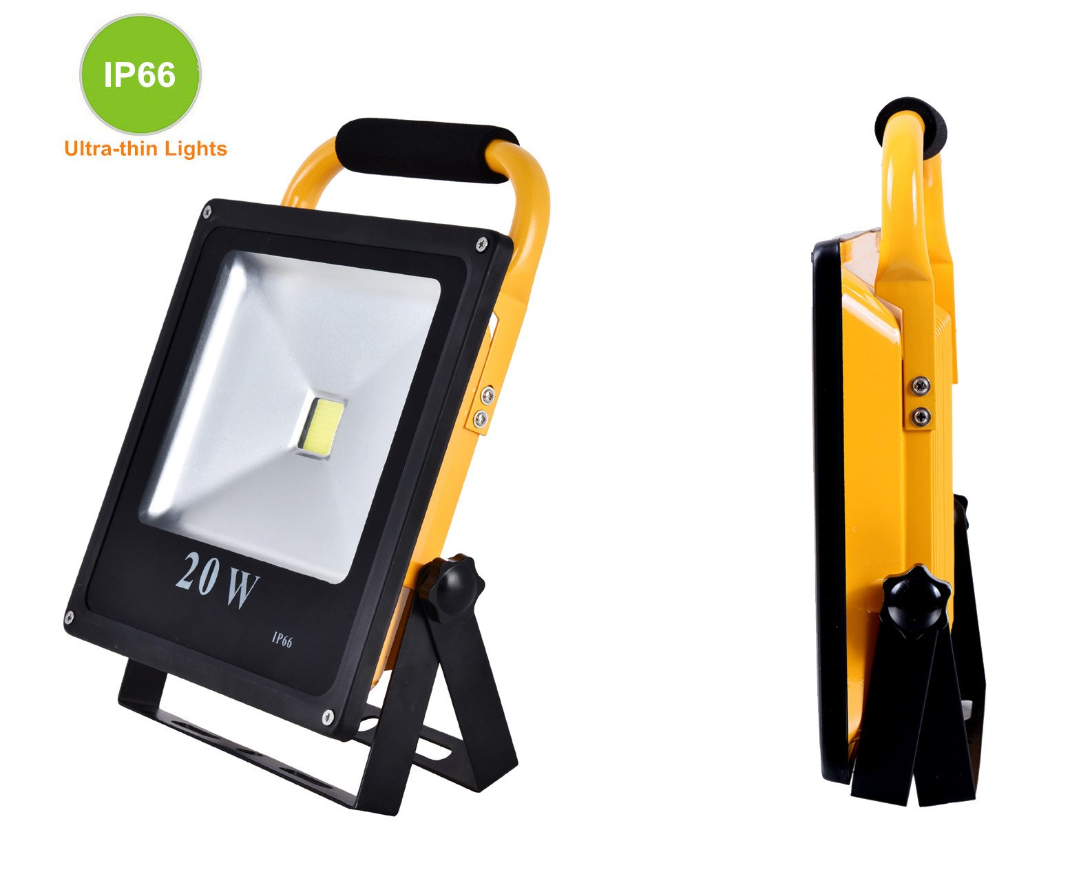 Starsea Portable Work Lights 20W, Rechargeable Led Flood Light with 18650 Lithium Batteries IP66 Waterproof, Rechargeable Led Spotlight, Work Light Adapter Included