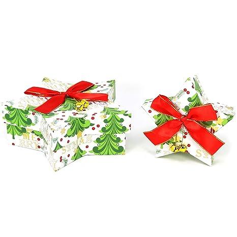 com-four® 2X Deco Caja de Regalo Star Hecha de cartón en Blanco,