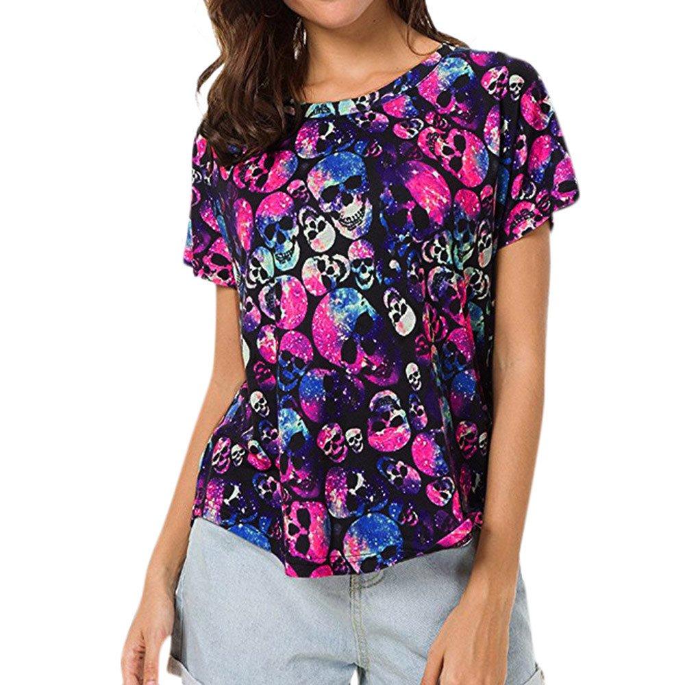Damark(TM)) Ropa Camisetas Mujer, Camisas Mujer Verano Elegantes Cuello Redondo Batwing Altao Casual Tallas Grandes Camisetas Mujer Manga Corta Camiseta Blusas Tops para Mujer Fiesta en la Playa