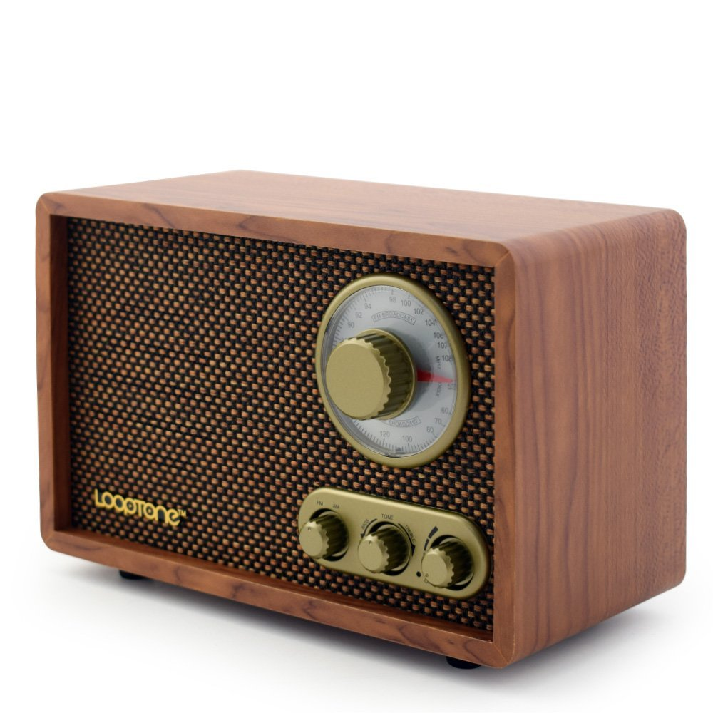 Looptone Vintage Wooden FM/AM Radio with Rotary Knob (Vintage Brown)