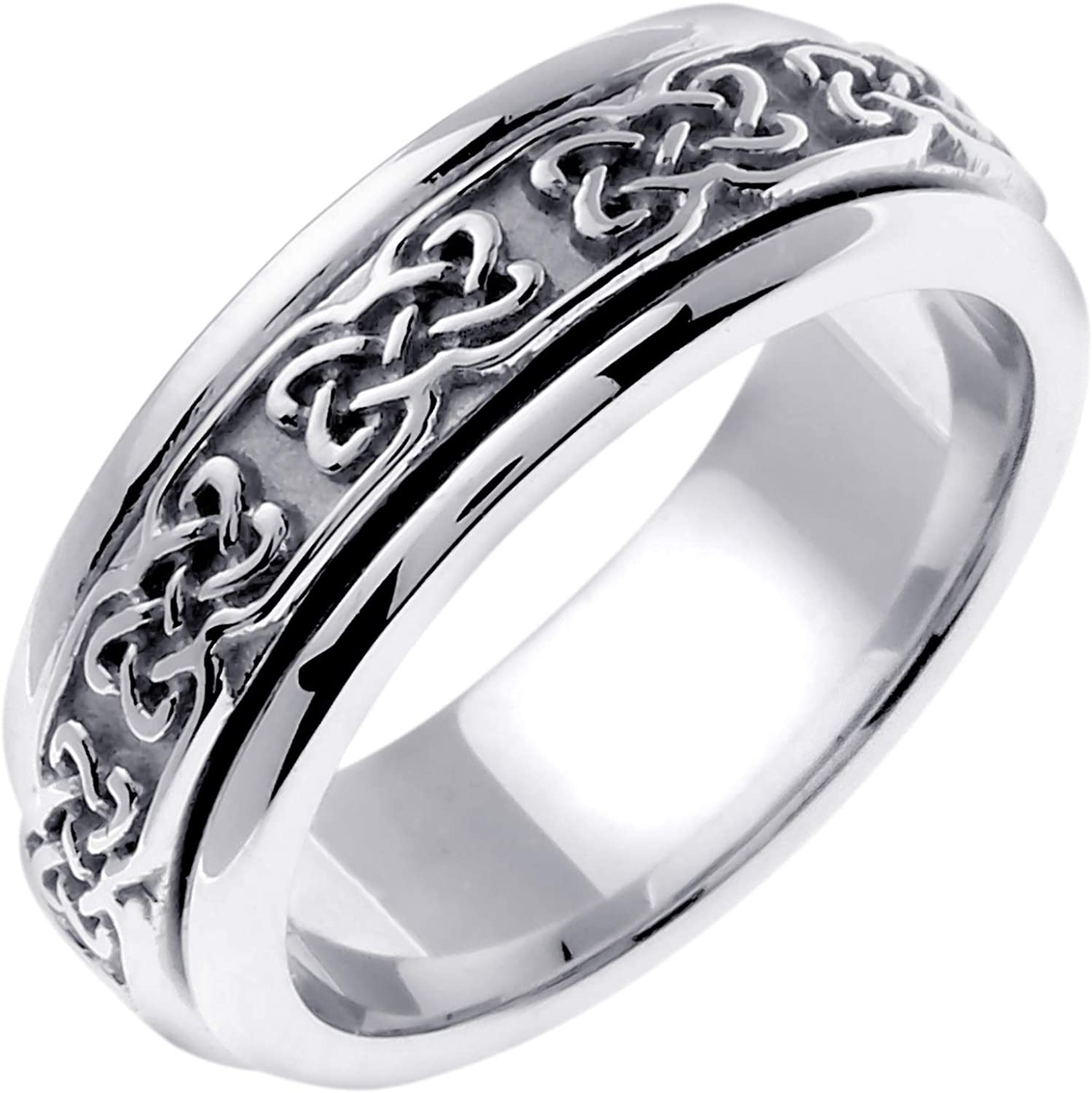 Platinum Celtic Dara Knot Women's Comfort Fit Wedding Band (7mm)