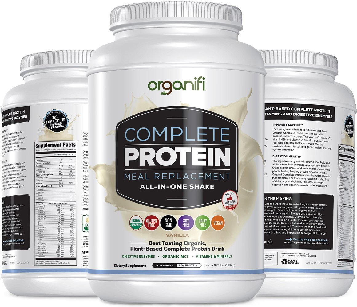 Organifi: Complete Protein - Vegan Protein Powder - Organic Plant Based Protein Drink - Soy, Dairy, and Gluten Free - Digestive Enzymes - Complete Vanilla Flavor - 30 Day Supply by Organifi