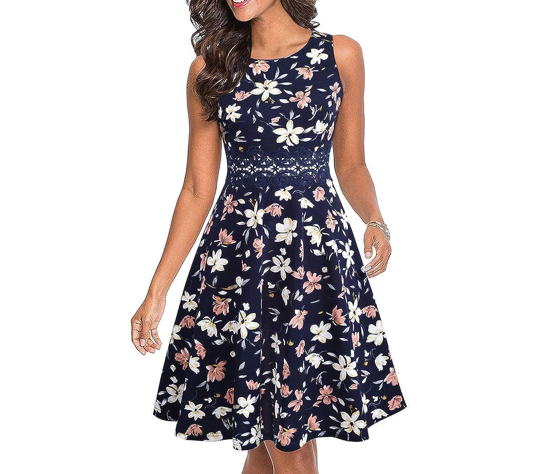 Women Vintage Sleeveless Swing A-line Party Dress Elegant Fit and Flare Tunic Lady Sundress Vestidos EA079