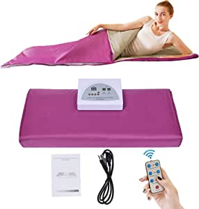 PinJaze Infrared Personal Sauna Blanket,71(L)×32(W) Inches Fast Sweating Professional Fitness Machine at Home for Weight Loss and Detoxification(with Button Battery/110V US Plug)(Purple)