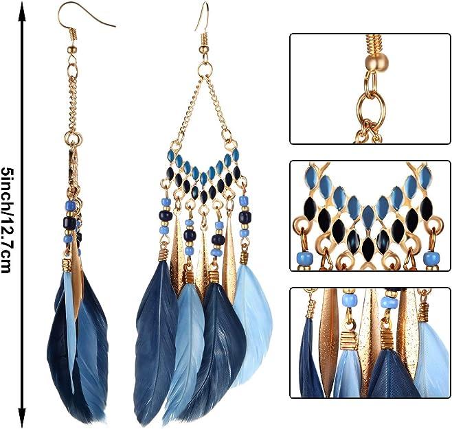Colorful Bohemian Feather Dangle Drop Earring Gifts for Women Girls Jewelry000001001197