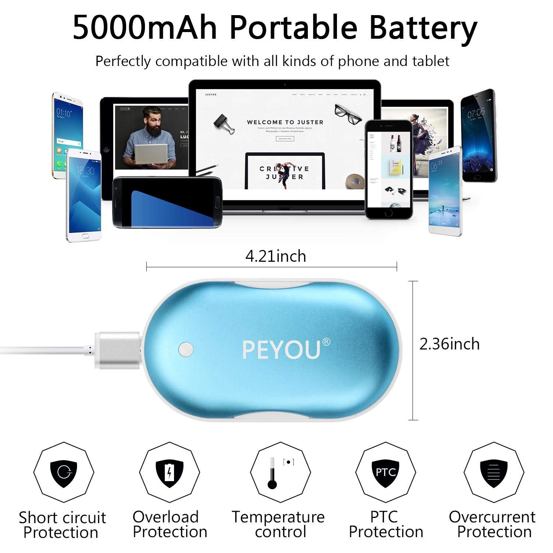Peyou Calentador de Manos USB Recargable, Regalo para Familia Amigos Calentadores Reutilizables port/átil 5200mAh Bateria Externa con Luz LED de Emergencia para iPhone//Samsung//Huawei 3 en 1
