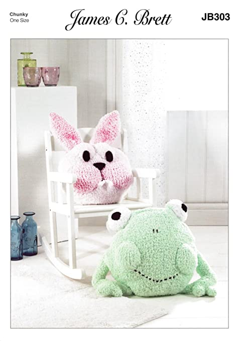 James Brett Jb303 Knitting Pattern Frog And Bunny Cushion Covers To