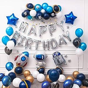 Ponmoo 87pices Globos Cumpleaños de Niño, Azul Decoraciones para Espacio Fiestas de Cumpleaños, Globo de Cohete Astronauta Robot Happy Birthday, Decoración de Feliz Cumpleaños con Accesorios