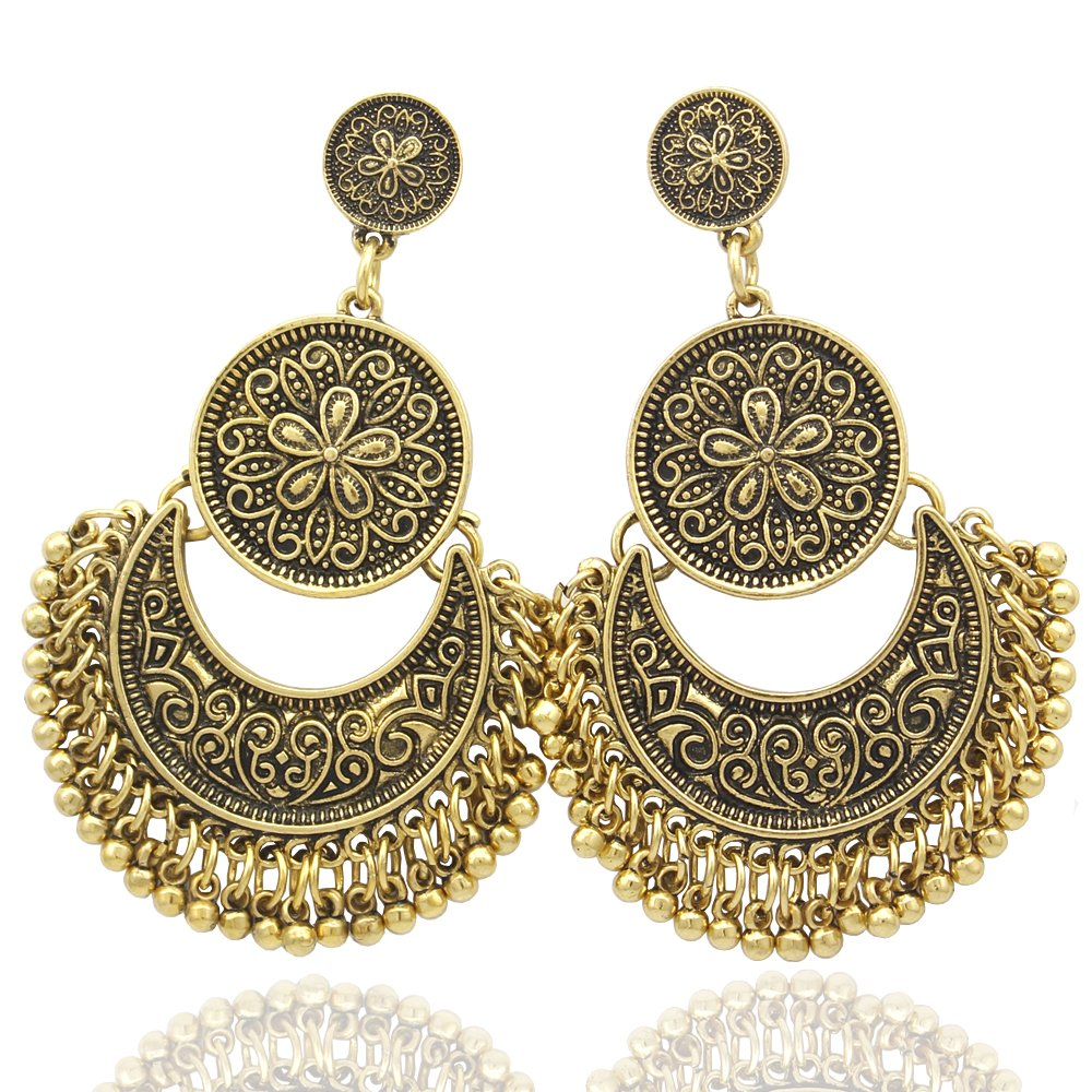 Q&Q Fashion Ethnic Bali Jhumka Jhumki Gold Brocade Lotus Mexico Gypsy Dangle Earrings 80586