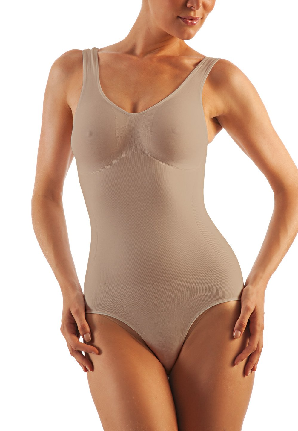 Alpha Medical Compression Shaper Bodysuit. Microfiber Shape Wear. For Slimmer Look & After Cosmetic Surgery. Fine Italian Made Quality & Style (XX-Large Beige)