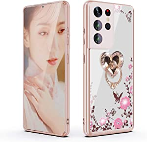 for Galaxy S21 Ultra Case,Clear Glitter Sparkly Diamond Secret Garden Floral Butterfly Soft TPU Case with Bling Shiny Rhinestone Ring Grip Holder Stand for Samsung Galaxy S21 Ultra 6.8 inch,Rose Gold