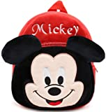 DZert Soft Plush Fabric Multicolour Micky Printed School Bag for Baby Boys and Girls