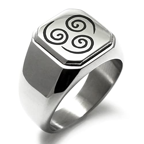 Black Metal Enement Rings | Stainless Steel Avatar Air Element Symbol Engraved Square Flat Top