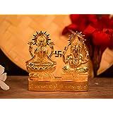 Collectible India Metal Gold Plated Decorative Laxmi Ganesha Set Hindu Idols Ganesh Lakshmi Statue Home Office Car Dashboard Decor Diwali Pujan Puja