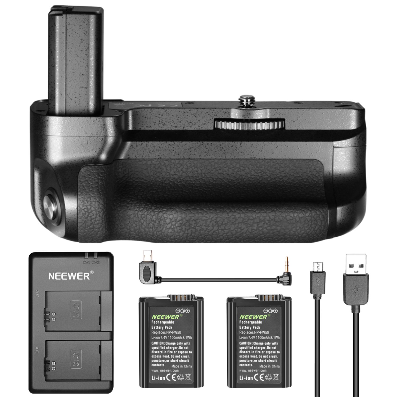 Neewer Pro Camera Vertical Battery Grip for Sony A6500 Mirrorless Camera, 2 Pieces 1100mAh Sony NP-FW50 Replacement Li-ion Battery and Micro USB Dual Charger