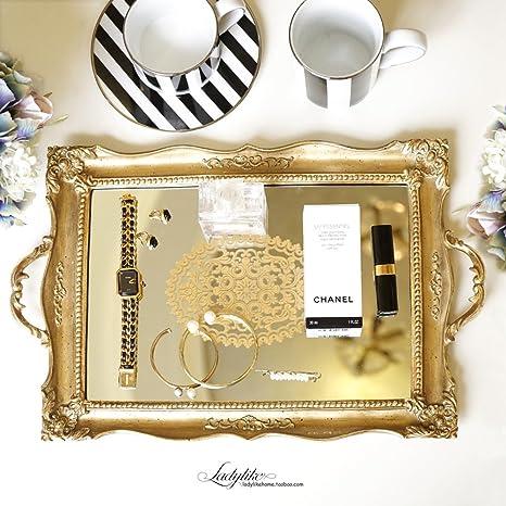 BVHGFSFHFHNVGHB Bandejas para cosméticos,Retro Estilo Europeo Organizador de Maquillaje Bandeja Oro Espejo Cosméticos Almacenamiento