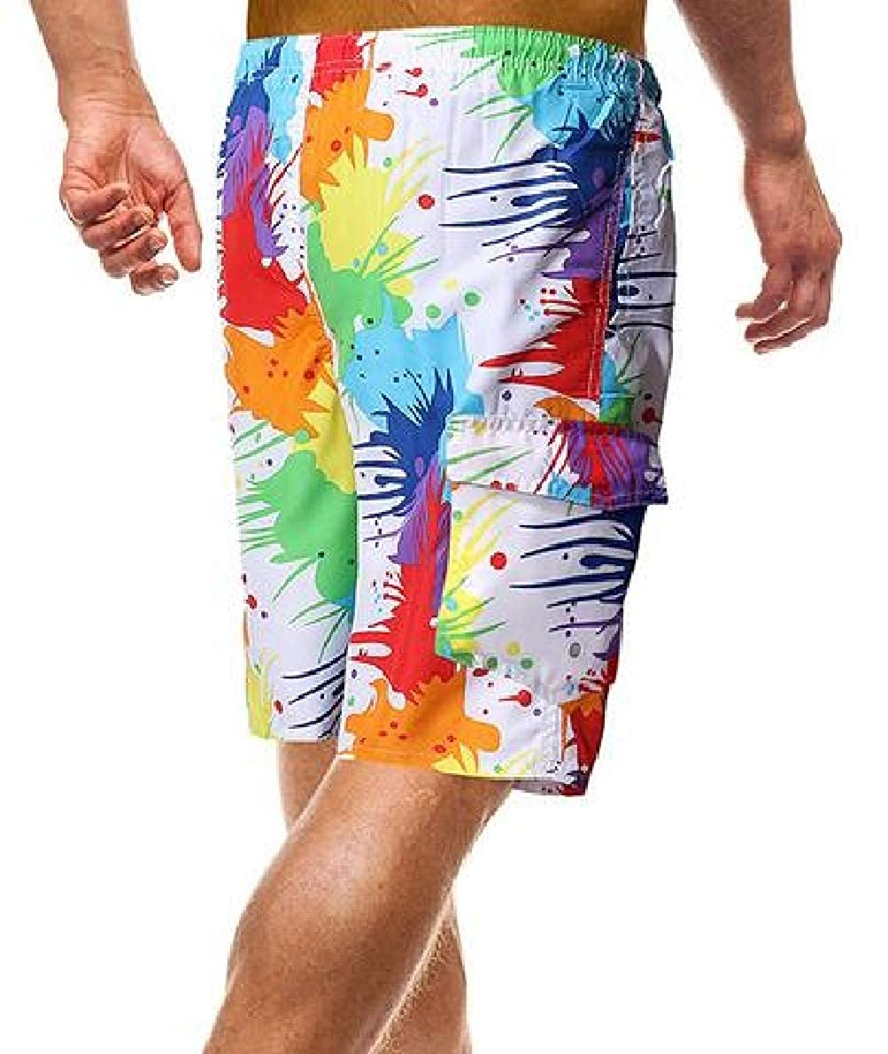 shinianlaile Mens Swim Trunks Summer 3D Print Graphic Athletic Swimming Shorts