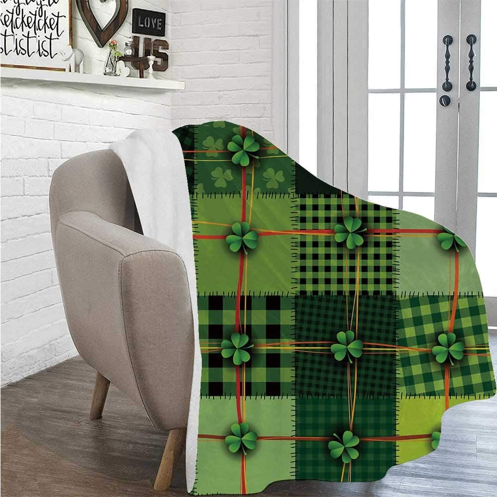 "YOLIYANA Irish Soft Print Thin Blanket,Patchwork Style St. Patricks Day Themed Celtic Quilt Cultural Checkered with Clovers Decorative for Living Room,39""L×49""W"
