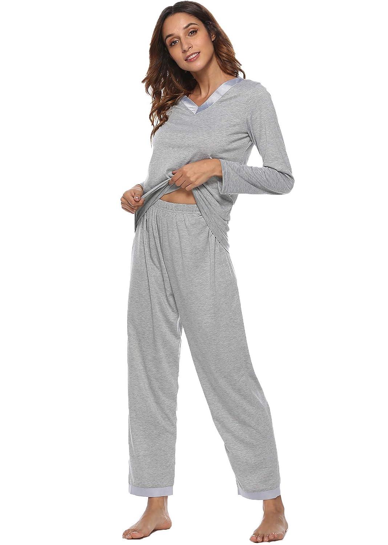 54195309f892 Etosell Women s Pajamas Long Sleeves Lounge Wear PJ Sets Cotton Pjs  Sleepwear at Amazon Women s Clothing store