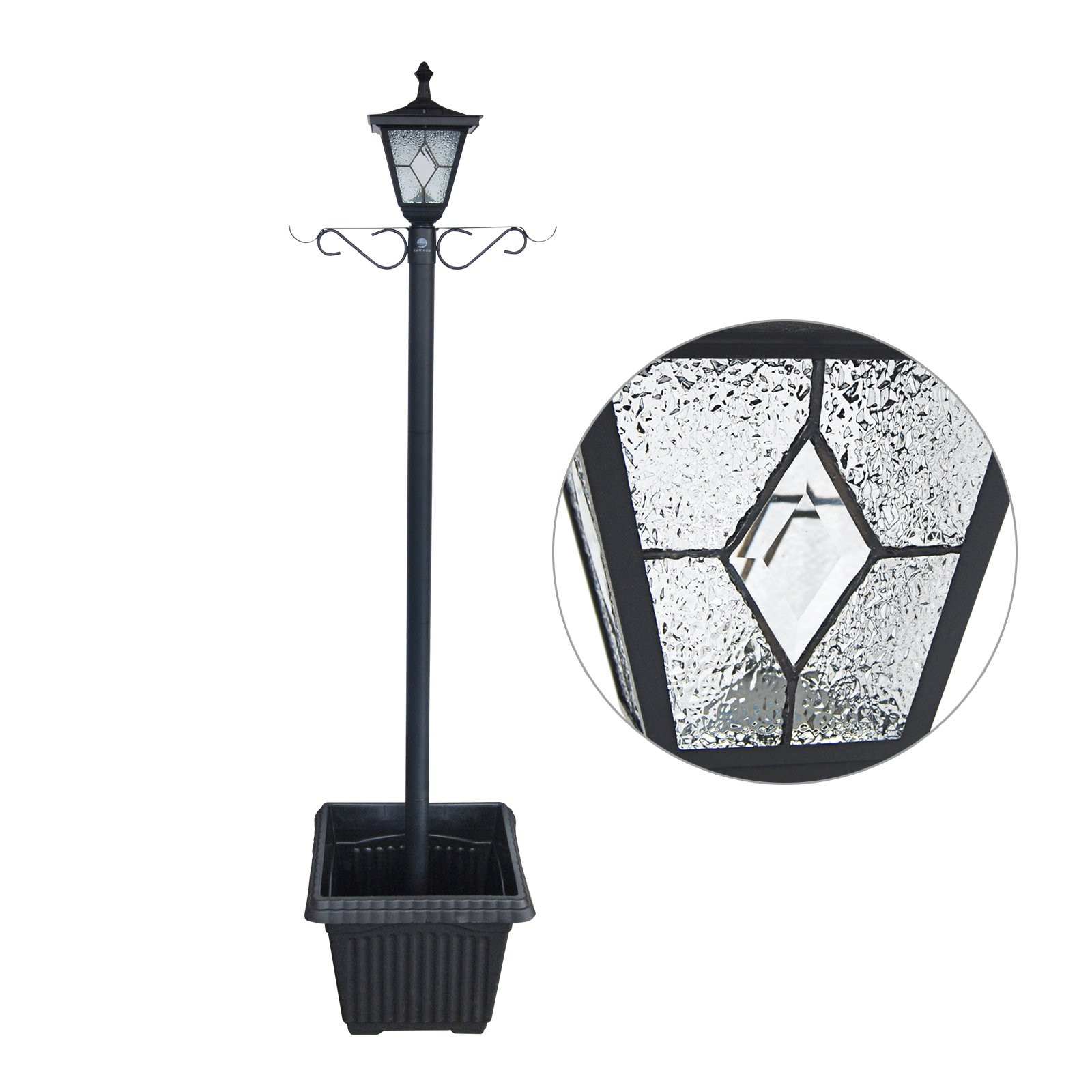 Kemeco ST4221SSP4 LED Cast Aluminum Solar Lamp Post Light with Planter Arm Hook for Outdoor Landscape Pathway Street Patio Garden Yard