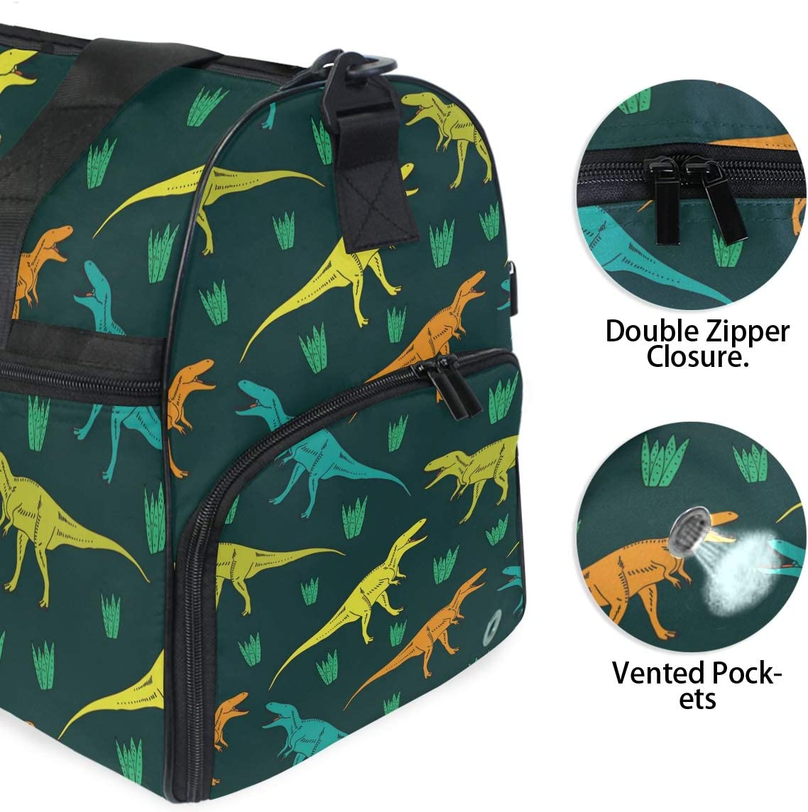 Dinosaur Sports Gym Bag with Shoes Compartment Travel Duffel Bag for Men and Women
