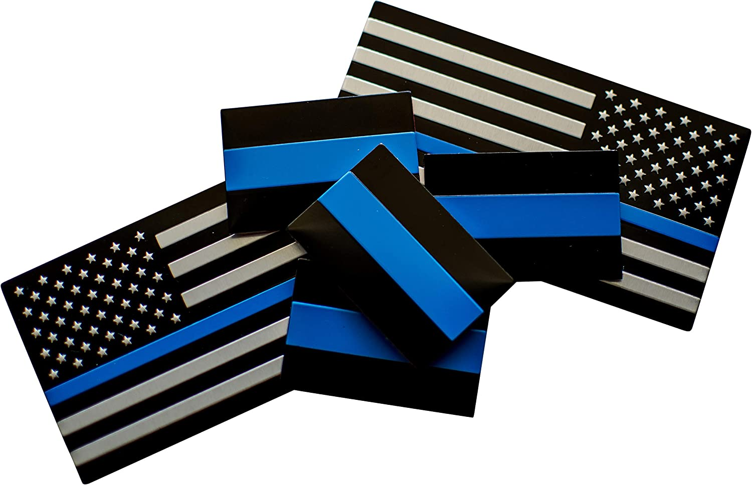 """Riley Express Aluminum Thin Blue Line Sticker Emblems 
