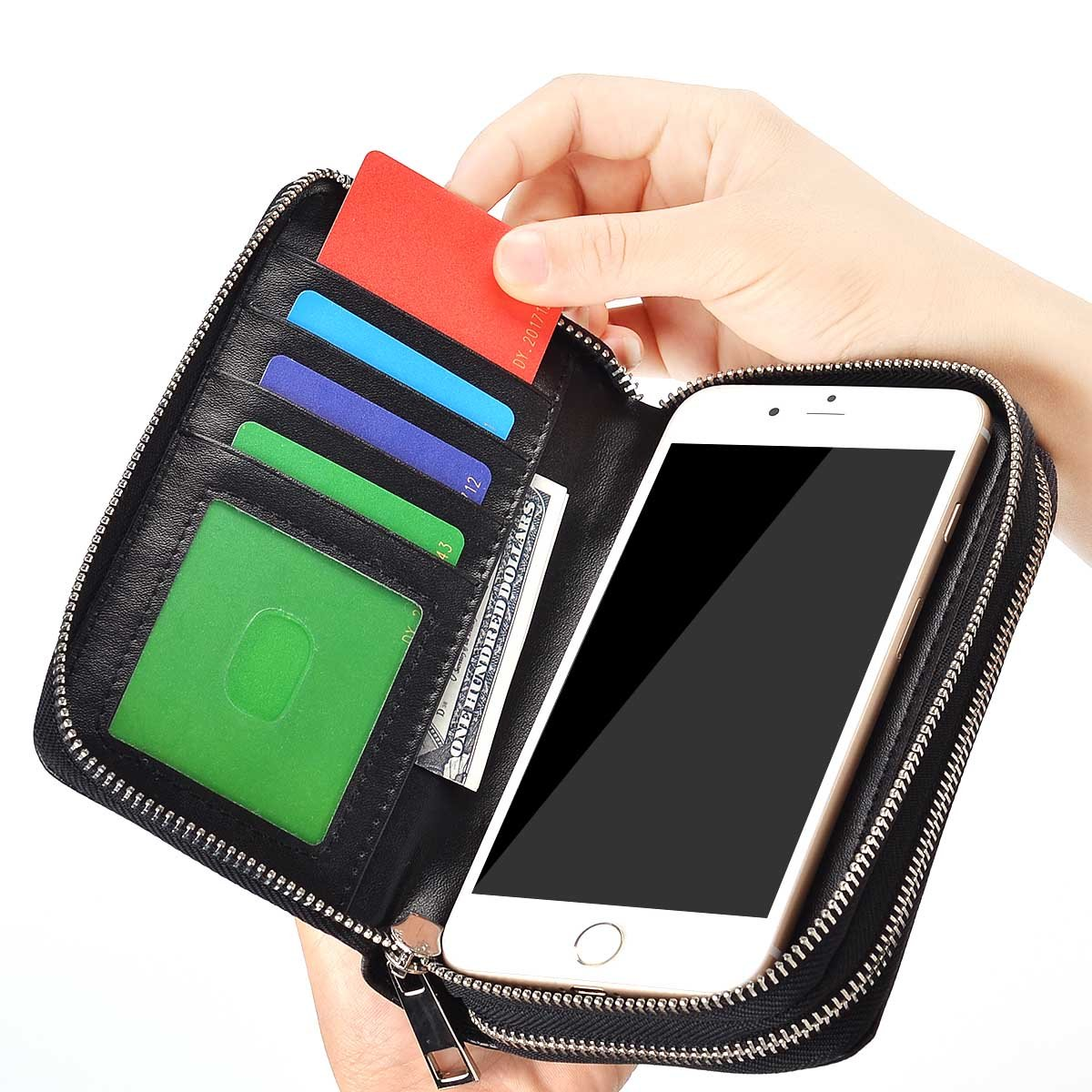 BANGBO Premium PU Leather Double Zipper Wallet Handbag Purse Card Case Money Organizer Phone Holder for Cell Phone IPhone 7/7 Plus/SE/6S/6 Plus/5S and Samsung Galaxy S8/8 Plus/S7/S6, Green 4326891289