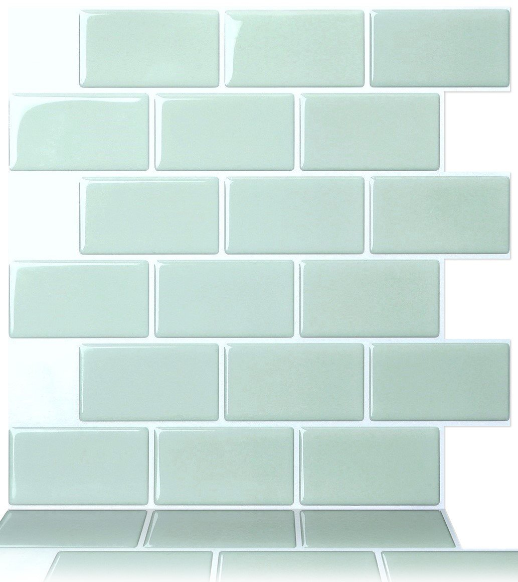 Tic Tac Tiles 10-Sheet 12'' x 12'' Peel and Stick Self Adhesive Removable Stick On Kitchen Backsplash Bathroom 3D Wall Sticker Wallpaper Tiles in Subway Mist by Tic Tac Tiles