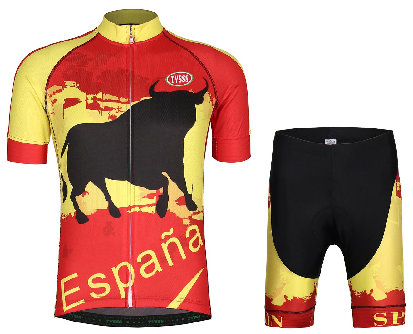Cycling Jersey Sets Men's Bib Shorts Short-Sleeved Summer Cycling Clothing Team Suits B07428STD6 Medium|Spanish Set 3 Spanish Set 3 Medium