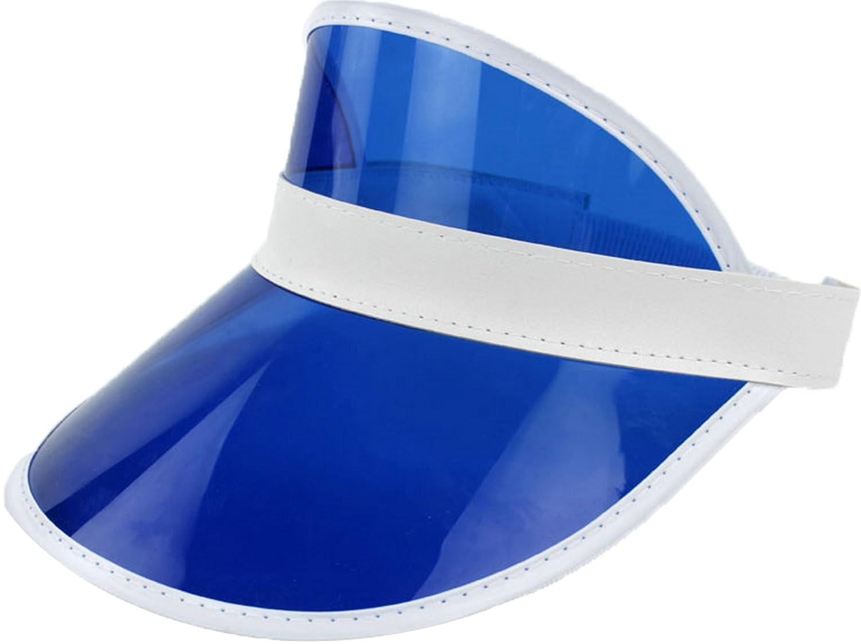 Ababalaya Unisex Damen und Herren aus SPF 50+ UV PVC Schutz Breite Rand Strand Sonnenhut KDM-02-Blue